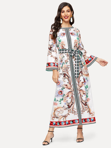 Mixed Print Bell Sleeve Self Belted Hijab Dress | Amy's Cart Singapore