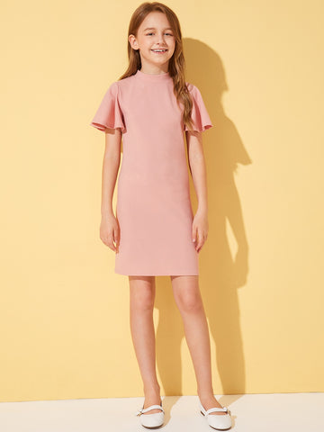Girls Solid Mock-Neck Flutter Sleeve Dress | Amy's Cart Singapore