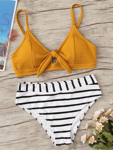 Textured Knot Front Top With Striped Bikini Set | Amy's Cart Singapore