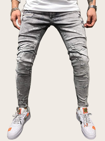 Men Button Waist Ripped Washed Jeans | Amy's Cart Singapore