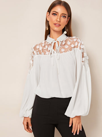 Tie Neck Embroidered Mesh Appliques Lantern Sleeve Top | Amy's Cart Singapore