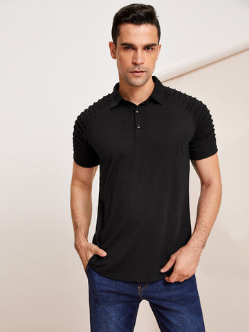Men Raglan Sleeve Solid Polo Shirt | Amy's Cart Singapore