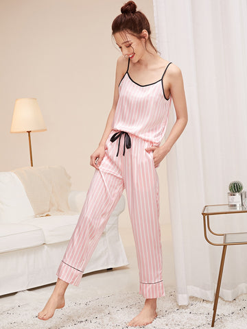 Striped Satin Cami Top & Pants PJ Set | Amy's Cart Singapore