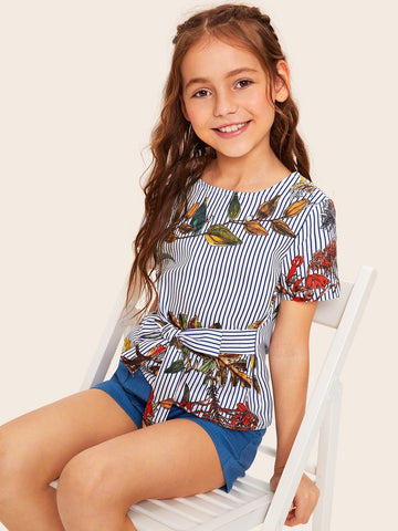 Girls Keyhole Back Tie Front Plants & Striped Blouse | Amy's Cart Singapore