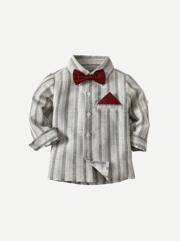 Toddler Boys Bow Tie Striped Shirt | Amy's Cart Singapore