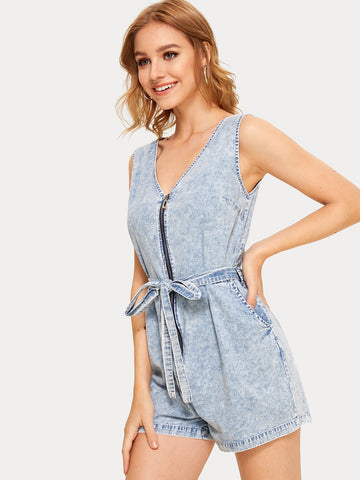 Zip Up Belted Denim Overalls | Amy's Cart Singapore