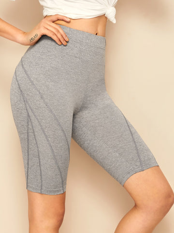Wide Waistband Topstitch Detail Cycling Shorts | Amy's Cart Singapore