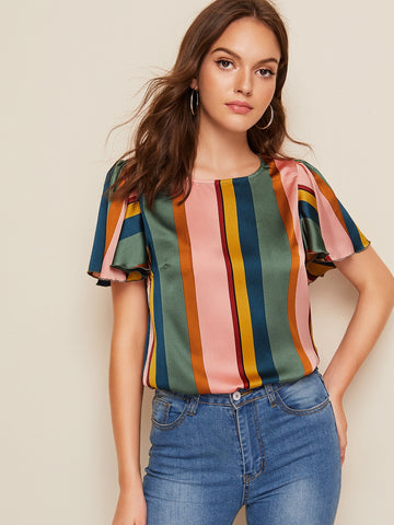Flutter Sleeve Striped Satin Top | Amy's Cart Singapore