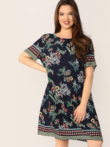 Plus Botanical and Aztec Print Tunic Dress | Amy's Cart Singapore