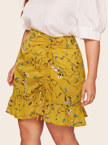 Plus Drawstring Floral Print Ruffle Hem Skirt | Amy's Cart Singapore