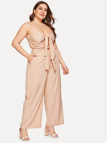 Plus Knot Wide Leg Cami Jumpsuit | Amy's Cart Singapore