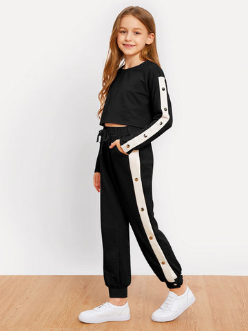 Girls Drop Shoulder Contrast Tape Top and Pants Set | Amy's Cart Singapore