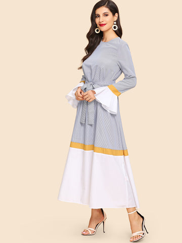 Waist Belted Bell Sleeve Color Block Dress | Amy's Cart Singapore