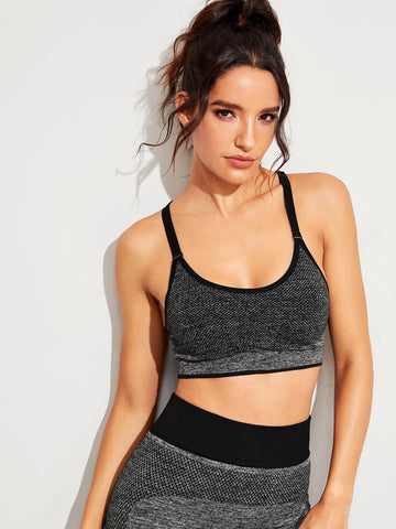 Marled Knit Racer Back Sports Bra | Amy's Cart Singapore