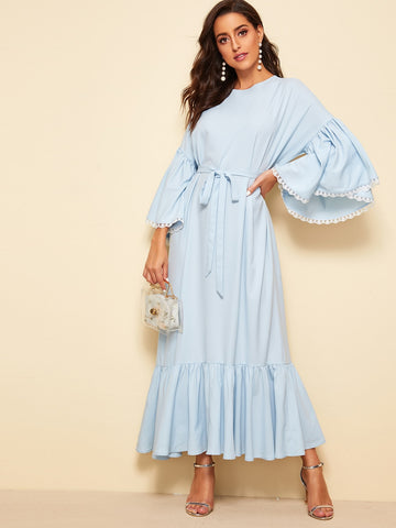 Embroidered Mesh Cuff Ruffle Trim Belted Hijab Dress | Amy's Cart Singapore
