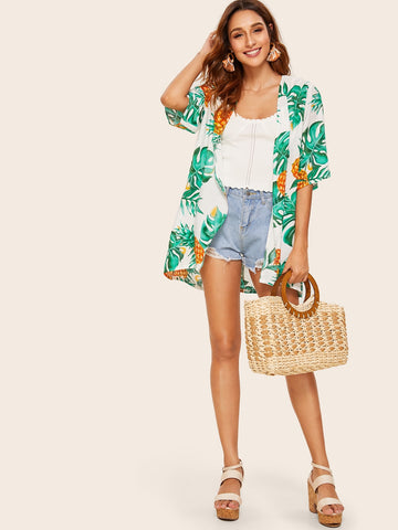 Plants & Pineapple Print Kimono | Amy's Cart Singapore