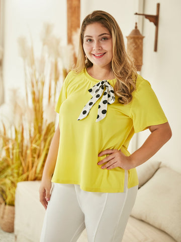 Plus Polka Dot Bow Front Tee | Amy's Cart Singapore