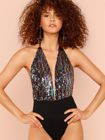 Plunge Halterneck Sequin Bodysuit | Amy's Cart Singapore