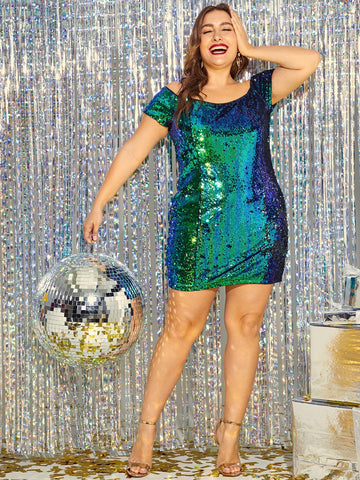 Plus Slim Fitted Bardot Sequin Dress | Amy's Cart Singapore