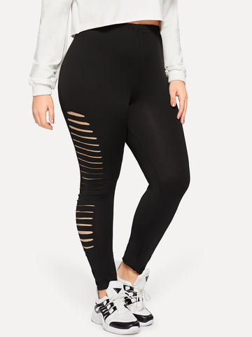 Plus Ripped Side Skinny Leggings | Amy's Cart Singapore