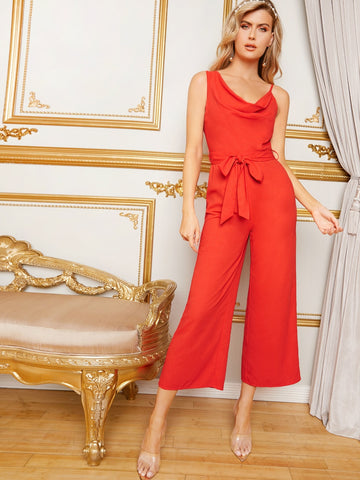 Draped Neck Belted Wide Leg Jumpsuit | Amy's Cart Singapore