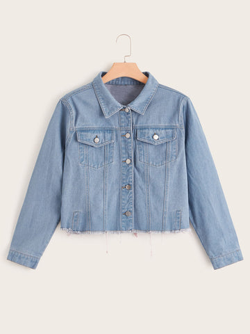 Plus Button Front Raw Hem Denim Jacket | Amy's Cart Singapore