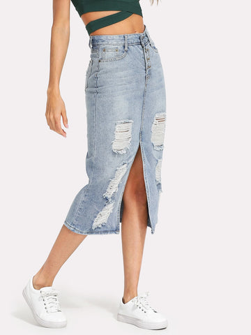 Split Front Ripped Denim Skirt | Amy's Cart Singapore