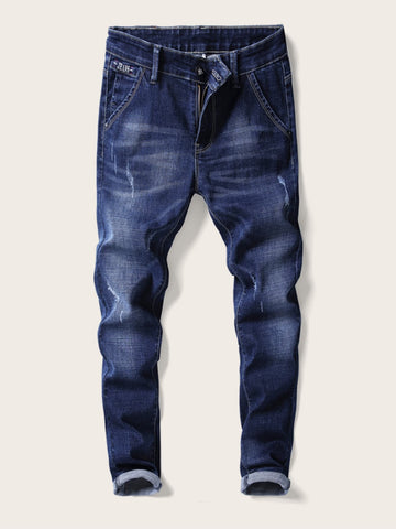 Men Dark Wash Ripped Jeans | Amy's Cart Singapore