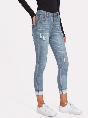 Rolled Hem Ripped Skinny Jeans | Amy's Cart Singapore