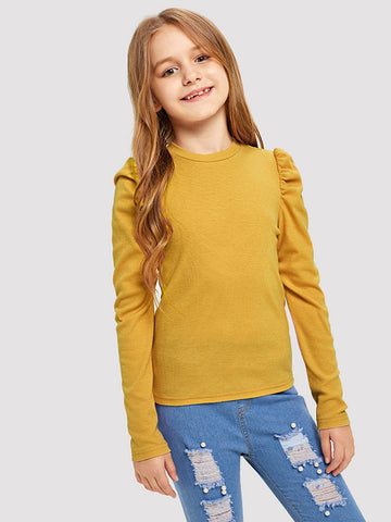 Girls Puff Sleeve Solid Tee | Amy's Cart Singapore