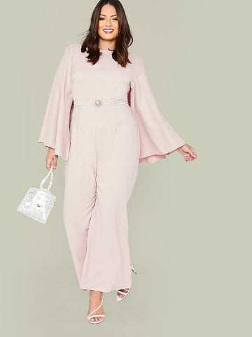 Plus Solid Cloak Sleeve Wide Leg Jumpsuit Without Belted | Amy's Cart Singapore