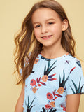 Girls Botanical Print Short Sleeve Tee | Amy's Cart Singapore