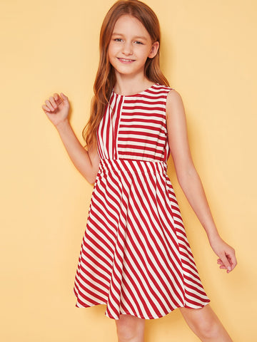 Girls Keyhole Back Striped Fit and Flare Dress | Amy's Cart Singapore