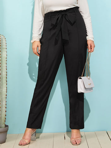 Plus Seam Front Paperbag Waist Belted Pants | Amy's Cart Singapore