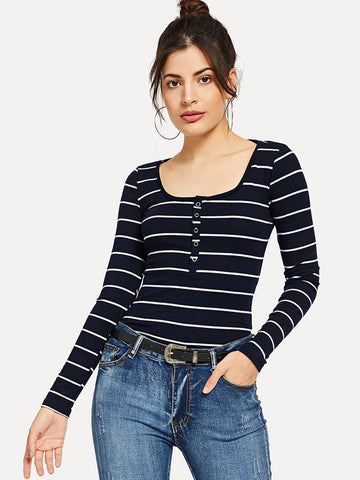 Scoop Neck Striped Henley Shirt | Amy's Cart Singapore
