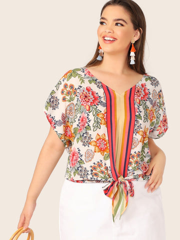 Plus Floral and Striped Print Knot Hem Blouse | Amy's Cart Singapore