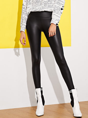 Wide Waistband Skinny PU Leather Pants | Amy's Cart Singapore