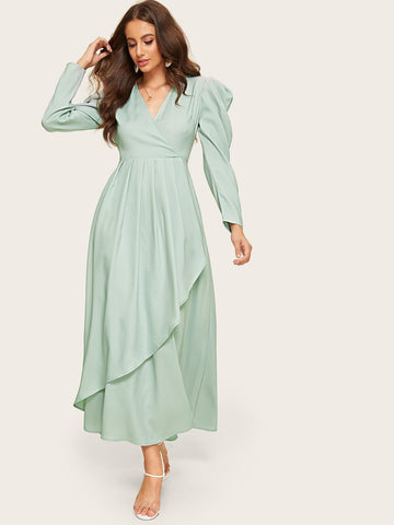 Surplice Neck Gathered Sleeve Asymmetrical Hijab Dress | Amy's Cart Singapore