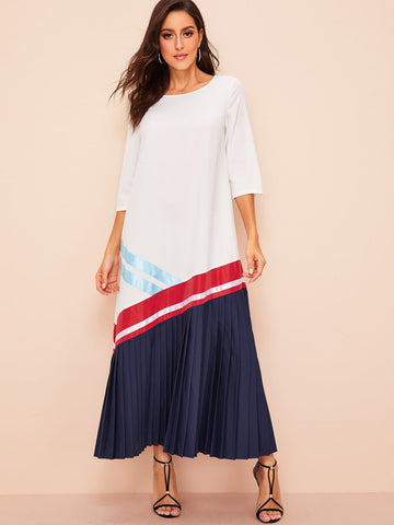 Colorblock Pleated Hem Hijab Dress | Amy's Cart Singapore