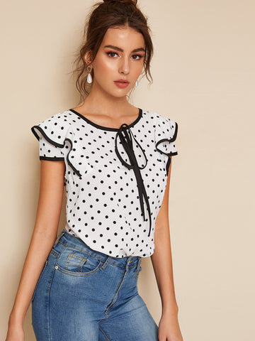 Polka Dot Piping Trim Blouse | Amy's Cart Singapore
