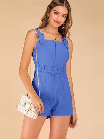 Solid Pocket Front Belted Romper | Amy's Cart Singapore