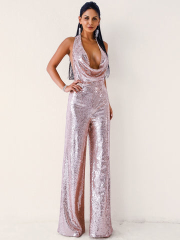 Missord Backless Draped Halterneck Sequin Maxi Jumpsuit | Amy's Cart Singapore