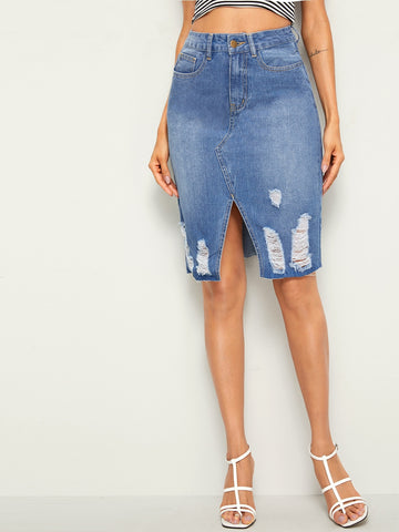 High Waist Ripped Slit Hem Denim Skirt | Amy's Cart Singapore