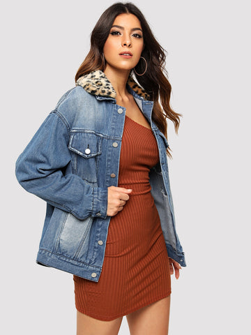 Detachable Leopard Collar Denim Jacket | Amy's Cart Singapore