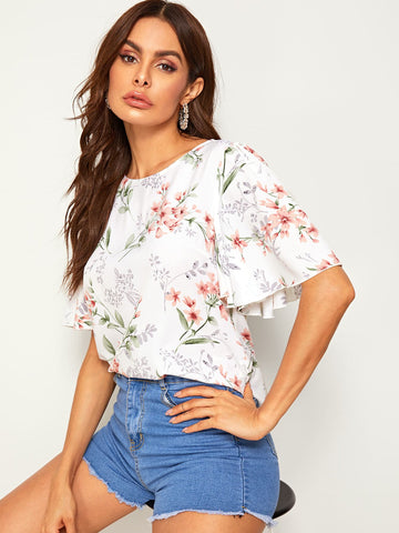 Floral Print Flutter Sleeve Top | Amy's Cart Singapore