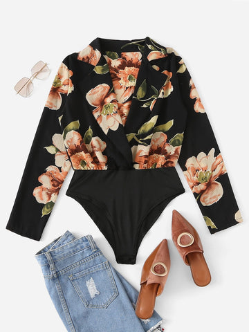 Plus Floral Print V-neck Bodysuit | Amy's Cart Singapore