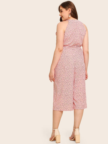 Plus Wide Leg Ditsy Floral Jumpsuit | Amy's Cart Singapore