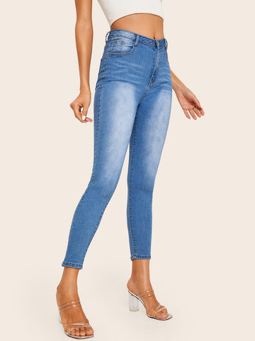 Faded Wash Stitch Detail Jeggings | Amy's Cart Singapore