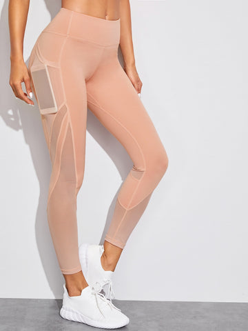 Contrast Stitch Mesh Pocket Skinny Leggings | Amy's Cart Singapore