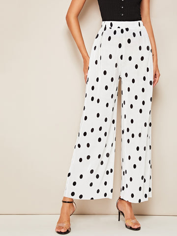 Polka Dot Print Wide Leg Pleated Pants | Amy's Cart Singapore